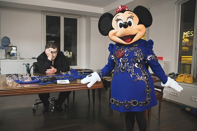 Alber Elbaz with Minnie Mouse in Lanvin