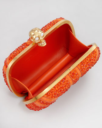 Alexander McQueen Britannia Crystal-Encrusted Skull-Clasp Clutch Bag