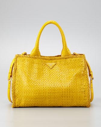 Prada Madras Small Tote Bag, Soleil