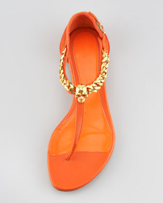 Alexander McQueen Skull-Chain Leather Thong Sandal, Orange