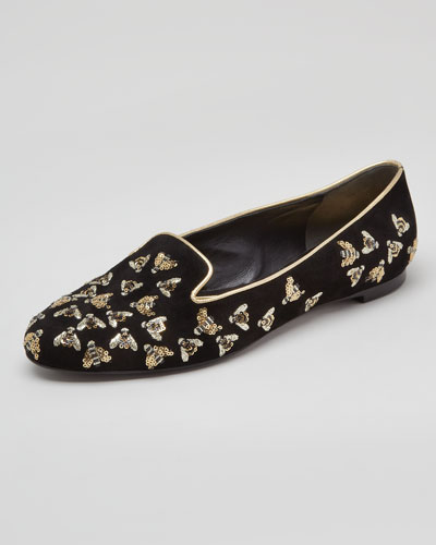 Alexander McQueen Bee-Embroidered Sequined Smoking Slipper