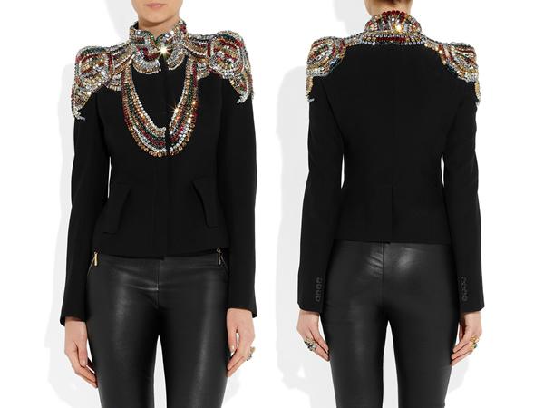 ALEXANDER MCQUEEN Swarovski crystal-embellished twill jacket-2
