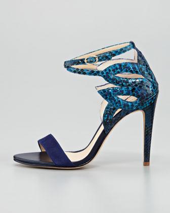 Alexandre Birman Python Ankle-Cutout Sandal-1