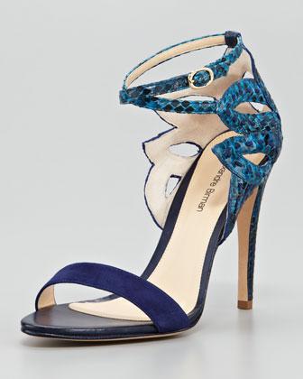 Alexandre Birman Python Ankle-Cutout Sandal