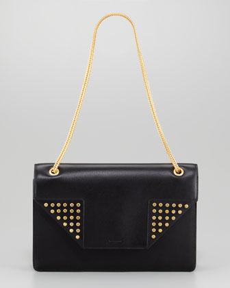 Betty Medium Studded Chain Shoulder Bag, Black