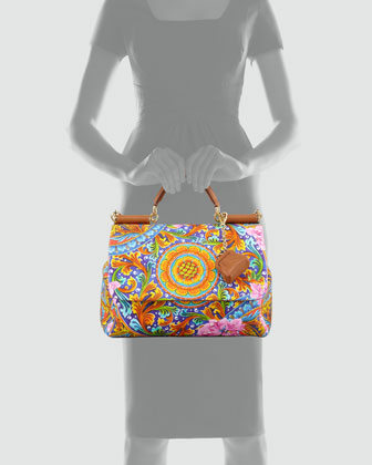 Dolce & Gabbana Miss Sicily Vibrant Canvas Print Bag-1