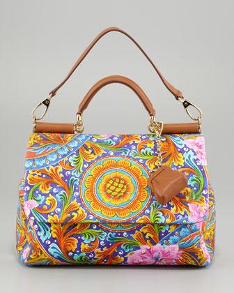 Dolce & Gabbana Miss Sicily Vibrant Canvas Print Bag