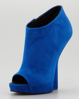 Giuseppe Zanotti Open-Toe Suede Fin Wedge Ankle Boot-1