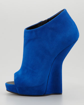 Giuseppe Zanotti Open-Toe Suede Fin Wedge Ankle Boot
