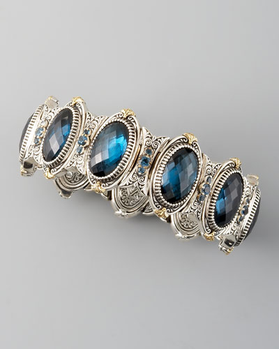 Konstantino London Blue Topaz Station Bracelet