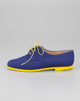 Manolo Blahnik Intha Linen Lace-Up Oxford, Navy:Yellow-1