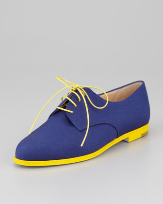 Manolo Blahnik Intha Linen Lace-Up Oxford, Navy:Yellow
