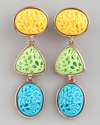 Oscar de la Renta Carved Cabochon Earrings