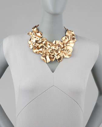 Oscar de la Renta Large Flower Collar Necklace-1