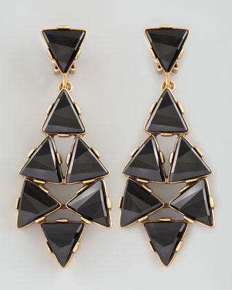Oscar de la Renta Triangle Cluster Clip Earrings