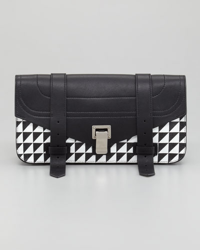Proenza Schouler PS1 Pouchette Triangle-Print Clutch Bag