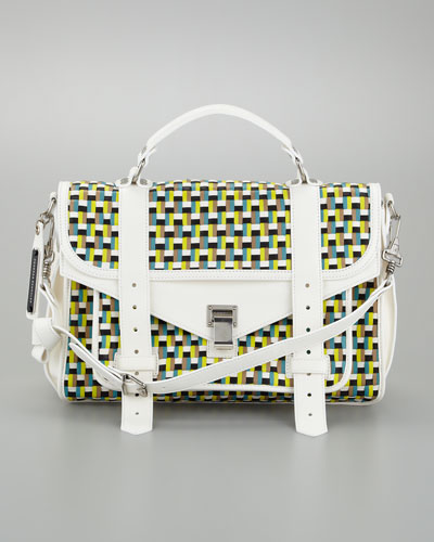 Proenza Schouler PS1 Woven Leather Medium Satchel Bag,
