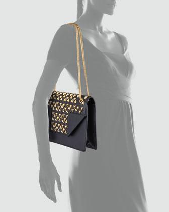 Saint Laurent Borsa Betty Studded Chain Shoulder Bag, Black-1