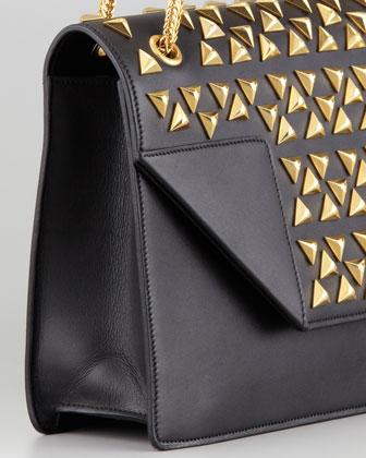 Saint Laurent Borsa Betty Studded Chain Shoulder Bag, Black-2
