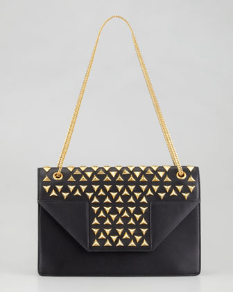 Saint Laurent Borsa Betty Studded Chain Shoulder Bag, Black