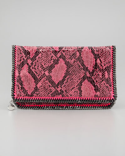 Stella McCartney Falabella Snake-Print Foldover Clutch Bag