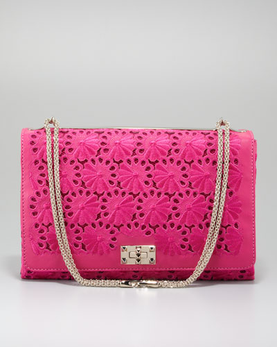 Valentino Floral Lace Cutout Shoulder Bag