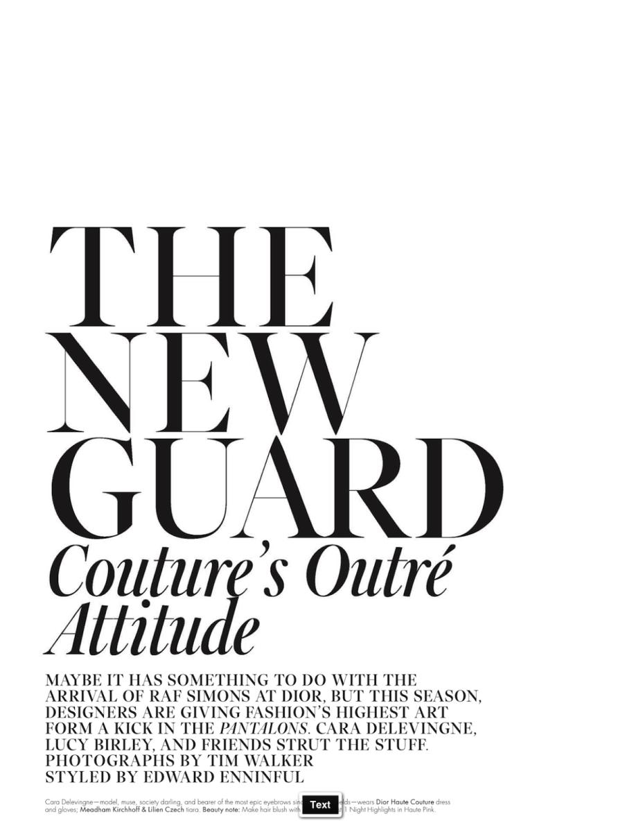 W Magazine : The New Guard