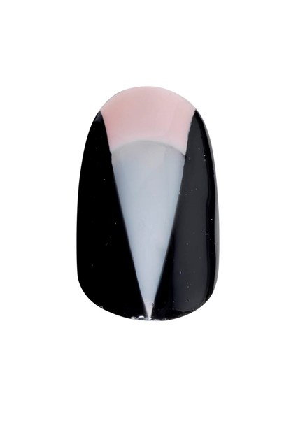 A V-neck nail design inspired by the look.