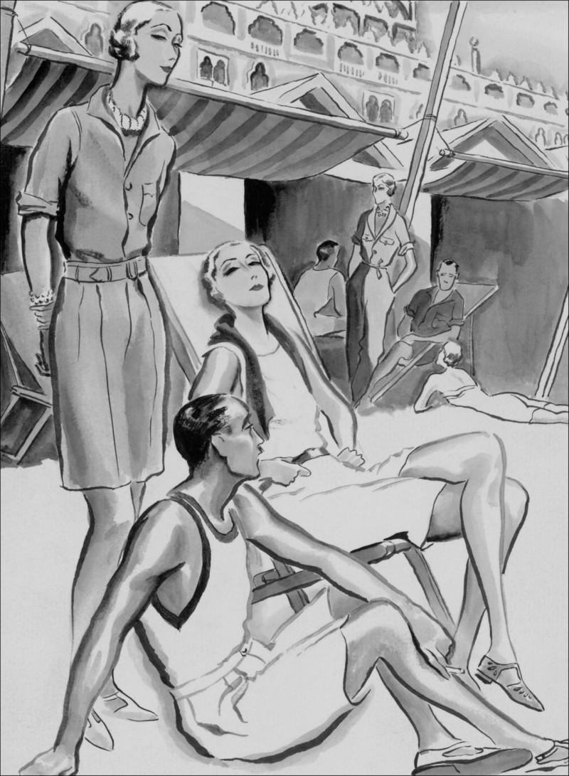 A drawing by Rene Bouet-Williaumez of Florida's Lido Beach Hotel, circa 1929.