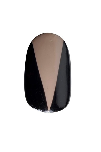 A graphic nail design inspired by the look.