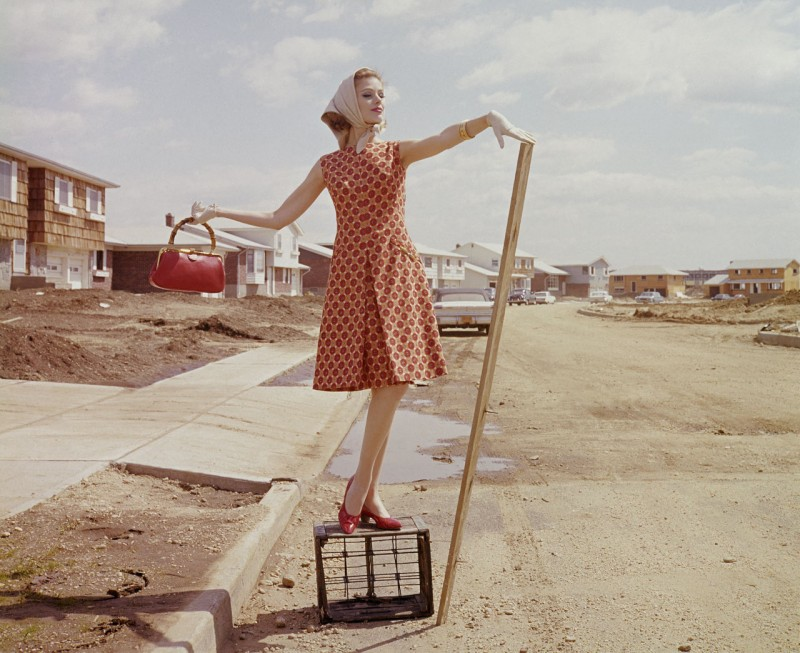 A model in red &gold at Plushwillow Park in 1962.