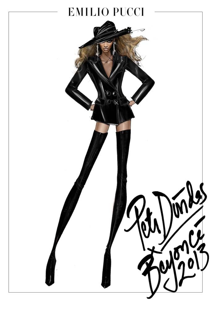 A sketch of a Peter Dundas design for Beyoncé Knowles' tour. Photo by Sketch by Peter Dundas