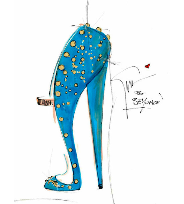 A sketche by Giuseppe Zanotti for Beyonce's World Tour