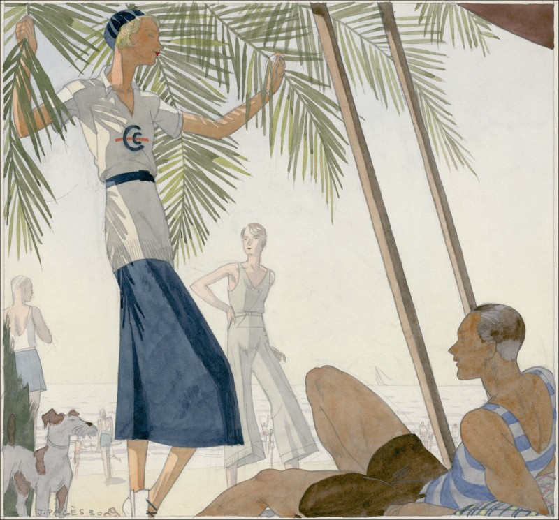 A Vogue illustration by Jean Pages of a woman at the beach in a Patou suit, 1931.