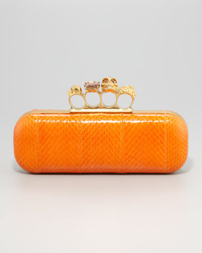 Alexander McQueen  Knuckle-Duster Snakeskin Box Clutch Bag