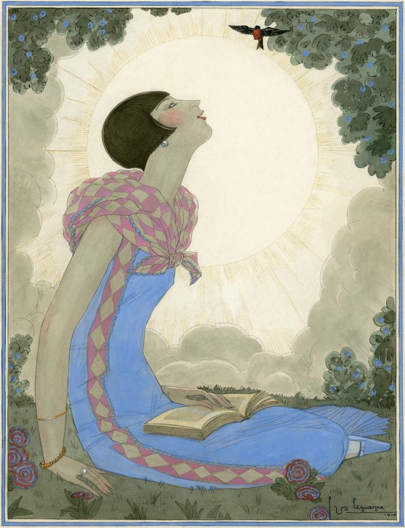 An illustration of a woman in a blue dress during springtime by Georges Lepape, ca 1926.