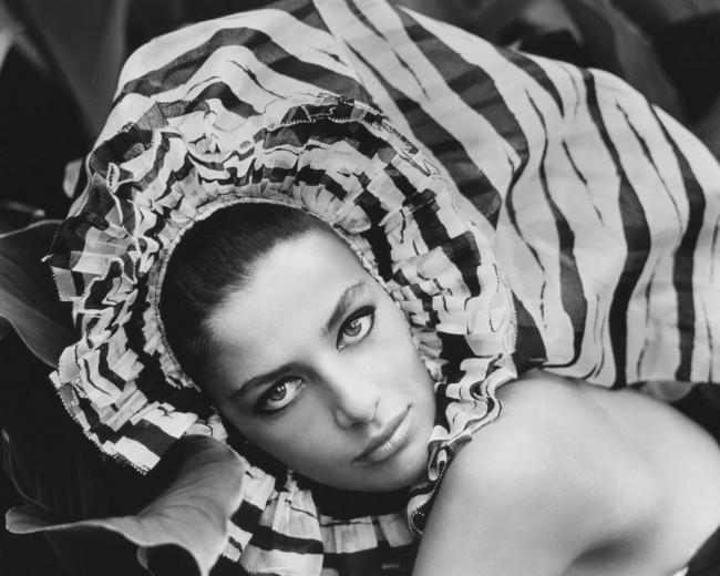 Ana Maria de Moreas Barros models a large silk headdress from Lanvin boutique, 1965