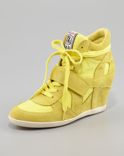 Ash Bowie Suede & Canvas Wedge Sneaker, Yellow