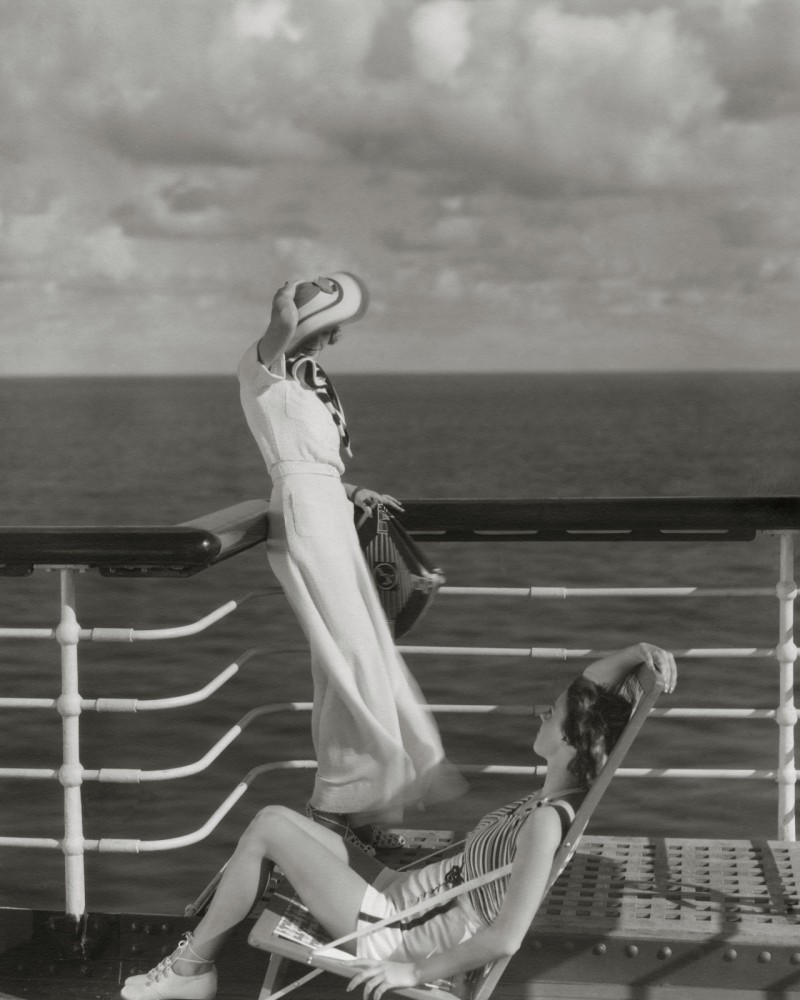 Bound for Hawaii, Edward Steichen photographs two models on the deck of the cruise ship liner Lurline, 1934.