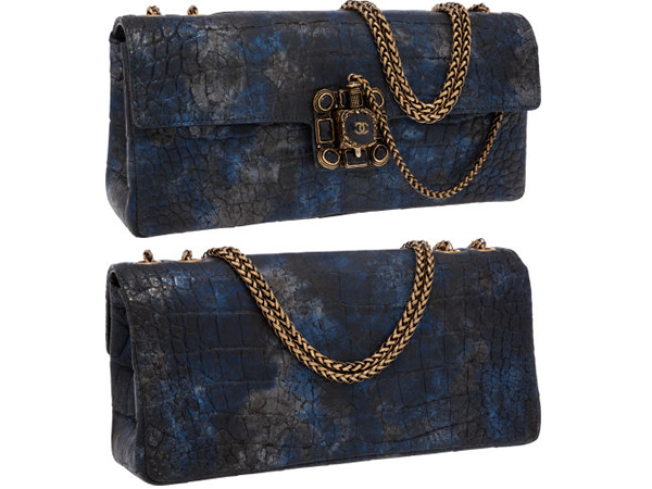 Chanel Blue & Silver Crocodile Paris-Byzance Runway Collection Gripoix East West Flap Bag This stunning bag is straight from the runway. The Chanel's 2011 Autumn collection was inspired by Byzantine.