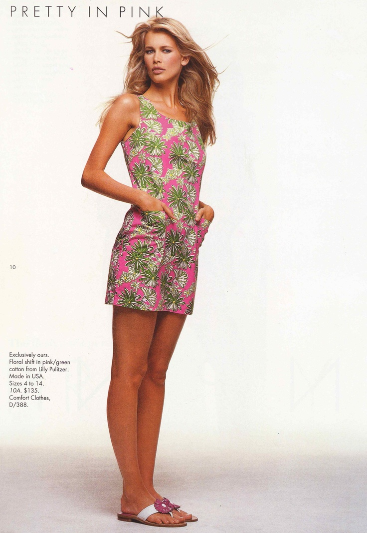 Claudia Schiffer for Saks Fifth Avenue in the Lilly Pulitzer classic shift in 1995
