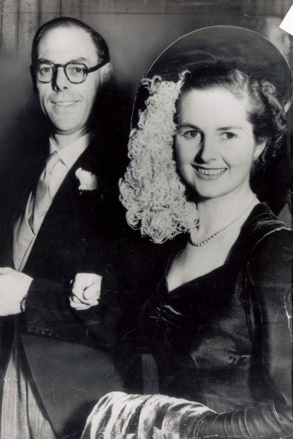 December 1951  With husband Denis on their wedding day at Wesley's Chapel in London.