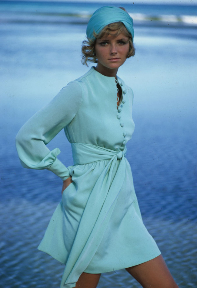 Feeling blue- Cheryl Tiegs models a dress by Stan Herman in the 1960s.