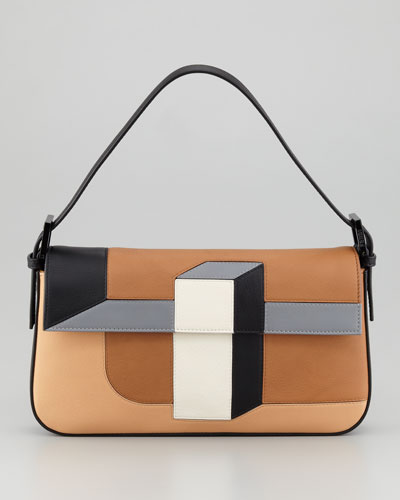 Fendi 3D Colorblock Vitello Baguette