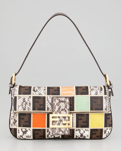 Fendi Snakeskin Colorblock Baguette Bag