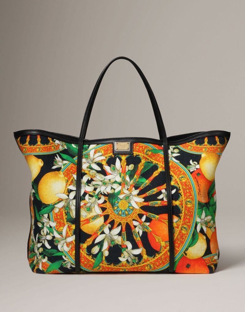 Foulard print canvas shopper