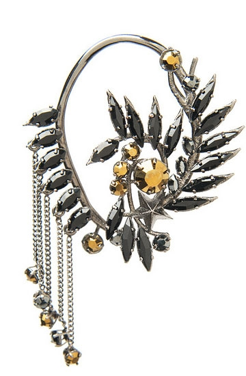 Givenchy jet crystal ear cuff  Image: Kirnazabete.com