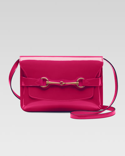 Gucci Bright Bit Patent Leather Shoulder Bag,