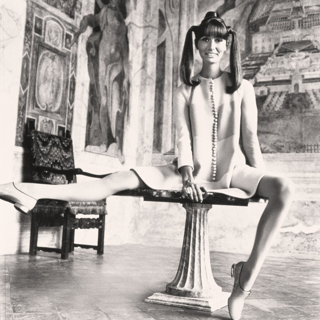 Henry Clarke photographs Mme. Philippe Leroy inside the Villa Lante della Rovere, 1966.
