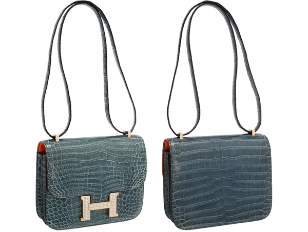 Hermes Extraordinary Collection 18cm Diamond Blue Jean Porosus Crocodile Double-Gusset Constance Bag with 18K White Gold Hardware This unbelievable bag is the ultimate for the Hermes collector. With a gorgeous H buckle crafted of white gold and encrusted with diamonds, this bag is unparalleled in luxury and elegance